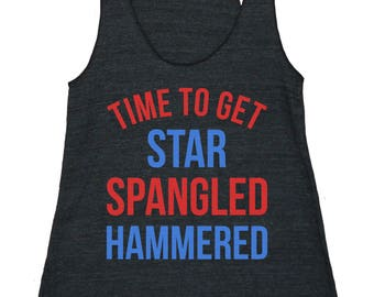 Star Spangled Hammered Women's American Apparel Racerback Tank Top