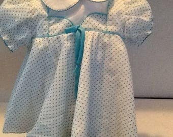 Retro white and light blue polka baby's dress 3 to 6 months, peter pan collar, puff sleeves, button down back, embellished front with bow.