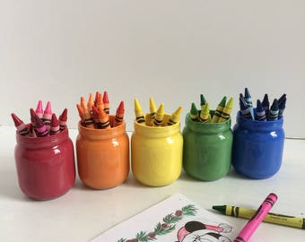 Rainbow Jars, crayon Holder, kids room organization, desk organization. pencil cup, pencil holder, mason jar decor, Montessori style holder