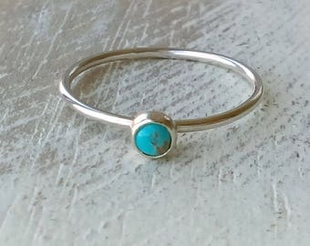 Turquoise Ring, Turquoise Stacker, Stackable Ring, Round Bezel, Hammered Texture, Stacking Ring, Silver Ring, Native American Jewelry