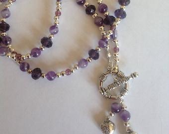 Amethyst necklace crystal necklace purple necklace beaded necklace handmade necklace