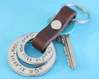 Roman numeral Personalized Leather Keychain,Mens personalized keychain,Leather Keychain Roman Numeral,Mens leather Keychain,husband keychain