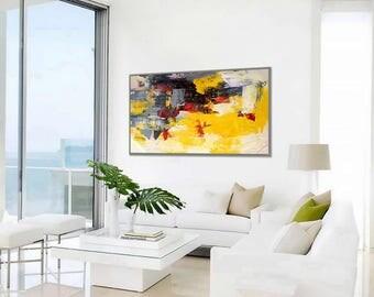 "Modern Wall Art Abstract Painting Acrylic Painting Canvas Art Original Abstract Art Modern Interior Decor Painting 24x48""/60x120cm"