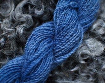 Handspun, woad dyed yarn 36 g, 2 ply