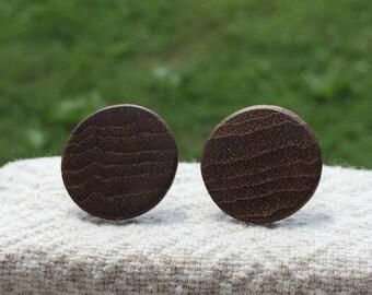 Wooden Earrings •Handmade •Teak •Circle Earrings• Studs • Nickle Free
