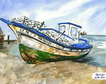 Old Wooden Boat, Watercolor and Ink Nautical Decor Print