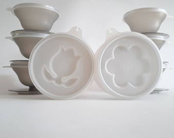 TUPPERWARE Dessert Cups Vintage set of 8 Series 754-42 Grey with lids perfect for parfait, jello, custard, pudding or ice cream