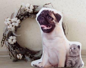 Plush Pillow. Dog pillow. Dog Art. Pug lovers. Dog & Kitti. Pillow dog. Dog lovers gift. Dog style. Puppy. Pug lovers. Dog gift. Pet lovers.