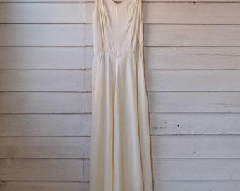 1940s White Satin Gown / Vintage 40s Dress / 1940s White Dress / Vintage Bridal Dress / XS S