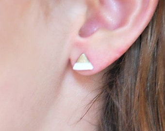 Gold and White Triangle Handmade Polymer Clay Earrings - Triangle Earrings, Geometric Earrings, Gold Earrings, Stainless Steel Studs