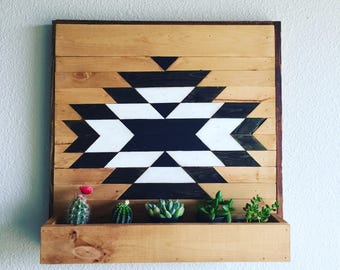 reclaimed wood wall planter art