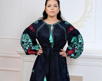 FREE SHIPPING!!! LIMITED edition! Ukrainian linen embroidered dress vyshyvanka With turquoise embroidery - Embroidered dress / Mini dress