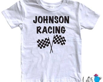 Personalized Checkered Flag Racing Toddler T-Shirt  - Toddler - Custom Favorite Driver Onesie - Racing Fans - BMX - Motocross - Race Day Tee