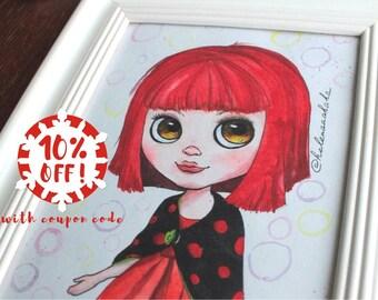 Red Haired Blythe doll illustration, Original Art, Blythe Art, Framed Art