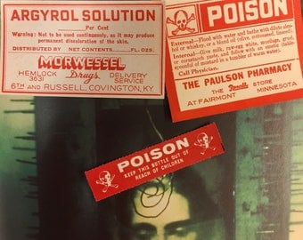 Vintage Pharmacy Labels - Poison - Skull and Crossbones - Carbolic Acid - Argyrol Solution - NOS - Paper Ephemera - Art Supply - Mixed Media