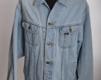 Vintage 90s LEE RIDER Denim Jacket L703 Light Blue Stonewashed Riders - Sz. XL
