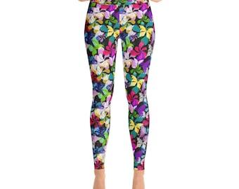 Butterfly & Floral Yoga Leggings Printed Leggings Yoga Workout Exercise Pants Woman's Leggings Yoga Pants