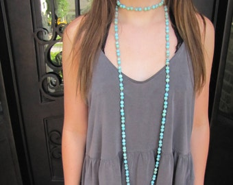 Long double wrap teal necklace