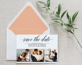 Printable Photo Save the Date, Calligraphy, Postcard, Wedding Announcement, Collage