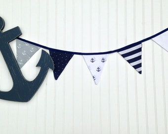 Nautical Fabric Bunting Banner / Triangle Banner / Anchor Motif / Navy White Gray / Nursery and Party Decor / Photo Shoot Prop