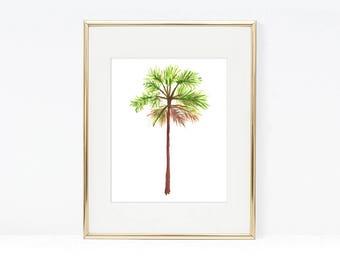Palm Tree Tropical Watercolor Art Print, Beach Printable Prints, Palm Tree  Wall Art Poster Part 94