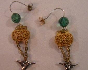 Royal hummingbird earrings