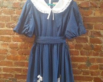 Vintage 1950s Blue and White Swing Shirt Dress