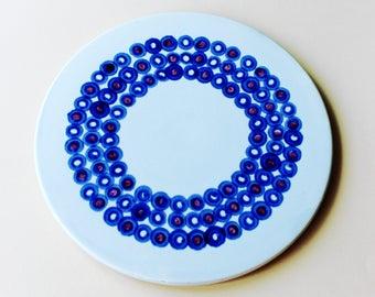 pretty cake plate, serving plate, serving dish, ceramic plate,  pale blue, 70's era design