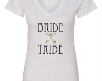 Bridesmaid T-shirt Bride Tribe Gold Glitter Arrows with Heart