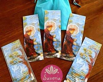 St Francis, 5 bookmark set, prayer bookmark, bookmark felt art, saint francis of assisi, catholic gift, book lover gift, religious gift