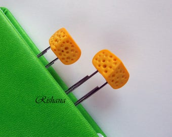 Paper clip / Cheese / polymer clay / gift / books / Bookmark / planner clips / planner accessories