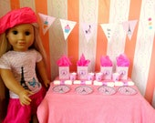 """French American Accessories 18"""" Girl Dolls, Paris Bistro Set: Bunting Cups Plates Napkins Bags, Parisian Bakery and Cafe Set"""