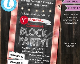 Block Party Invitation FLYER Street Party Neighborhood Invite- BBQ Party- Printable Personalized Chalkboard INSTANT Self Editable 8.5X11