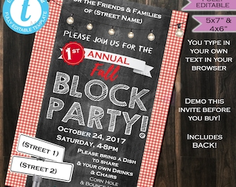 Block Party Invitation Street Party Neighborhood Invitation- HOA Party BBQ- Printable Personalized Chalkboard INSTANT Self Editable 4x6 &5x7