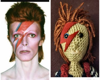 crAFty Characters: David Bowie doll, Ziggy Stardust, the Iconic Rockstar collection, handmade gift for Bowie fans.