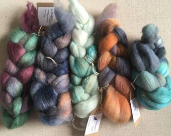 Breed sampler hand dyed fibre pack 100g