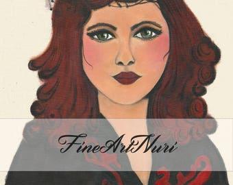 Art nouveau portrait, art nouveau print, art nouveau paintings, vintage portrait, art nouveau decoupage, headdress, art nouveau tag,