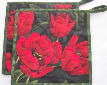 "TWO Red Floral Potholders, 8.5"" Square, Quilted Potholders, Reversible Potholders, Heat Resistant, Quilted Mug Rugs, Quilted Snack Mats"