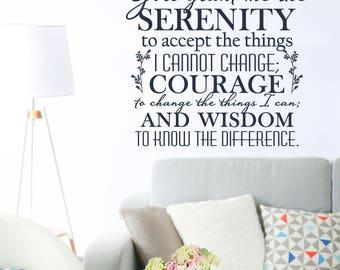 serenity prayer wall art vinyl wall art home decor wall quote