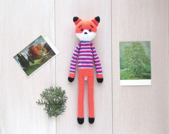 Fox/Soft Knitted toy/Long-legged Toy/Amigurumi/Forest Animal/Gift for Everyone