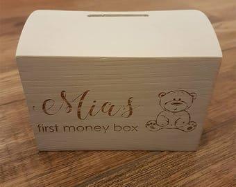 Wooden Money Box, Personalised Money Box, Christening Gift, Birthday Gift, Wedding Gift, Anniversary Gift, Christmas Gift
