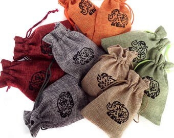 Gift pouch Favor gift bags Elephant gifts Drawstring pouch Hessian Jute Bag Hessian pouch Drawstring bag Burlap favour bags Jute gift bags