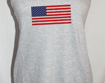 Womens racerback  USA Patriotic Fourth of July USA distressed American flag Summer Tank Top red navy blue Any color Small Medium Large XL