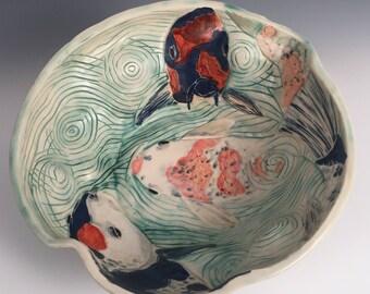 Rippled Koi Pond Bowl with Three Fish