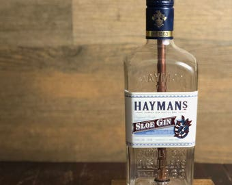 Re-purposed Hayman's Sloe Gin Bottle Lamp 750mL