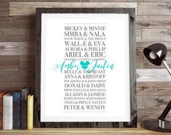 CUSTOM Disney Couples Sign, PERSONALIZED Disney, Custom Wedding Gift, Romantic Disney, Wedding Anniversary, Valentine's day Gift, Disney Art