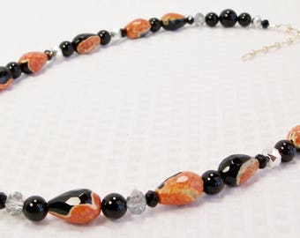 Agate and Black Onyx Necklace, Orange Agate, Black Onyx, and Crystal Necklace, Handmade Jewelry, Dyed Agate Stone, Black Stone, Semiprecious