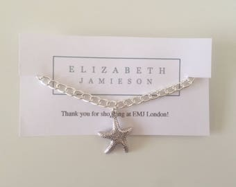 starfish charm, chain bracelet, nautical gift, seaside present, summer anklet, nautical bracelet, starfish bracelet