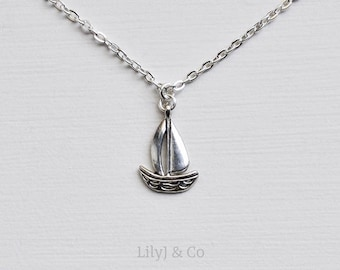 Boat Necklace, Boat Charm Necklace, Sailing Boat Charm, Silver Sailing Boat Charm Necklace On Silver Plated Chain, Nautical Necklace