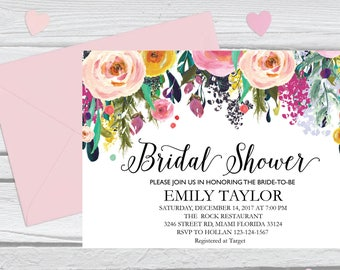 Bridal Shower Invitation, Printable Bridal Shower, Boho Bridal Shower, Instant Digital Download File, Flower Bridal Shower, Floral Bridal 6
